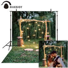 цены Allenjoy Hoop Wood Wedding Background Wonderland Droplight Park Flowers Trees Backdrops Spring Engagement Photographic Photocall