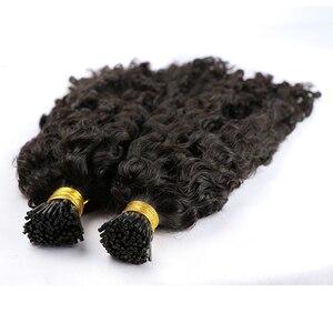 Kinky Curly I Tip Microlinks человеческие волосы для наращивания для черных женщин бразильские натуральные волосы для наращивания черного цвета