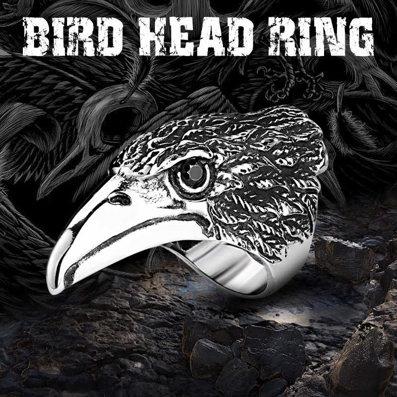 Big BIKER MEN/'s STAINLESS Steel Silver Black Heavy Metal 3D Eagle Head Ring