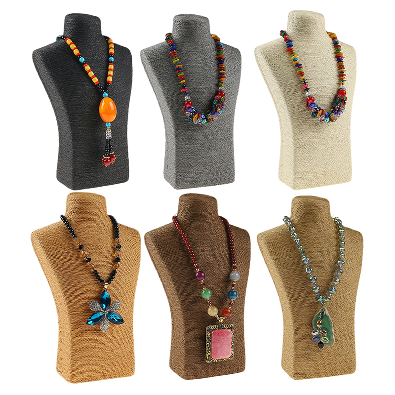 29*18cm Hemp Rope PVC Portrait Necklace Display Stand Holder Jewellry Mannequin Bust Neck Jewelry Display Stand