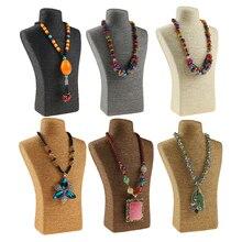 Collar de retrato de PVC de cuerda de cáñamo de 29x18cm, soporte de exhibición, joyería, busto de maniquí, soporte para presentación de joyería