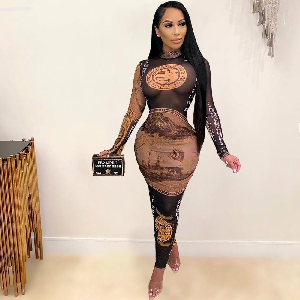 Sexy Mesh Dollar Money Dress Plus Size Turtleneck Sundress See Through Party Night Club Wear Fall Autumn Black Clothing S 3xl|Dresses| - AliExpress