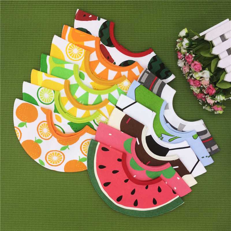 360 Degree Rotatable Newborn Baby Bibs Cotton Fruit Pattern Infant Toddler Saliva Towel Aprons Baby Feeding Accessories