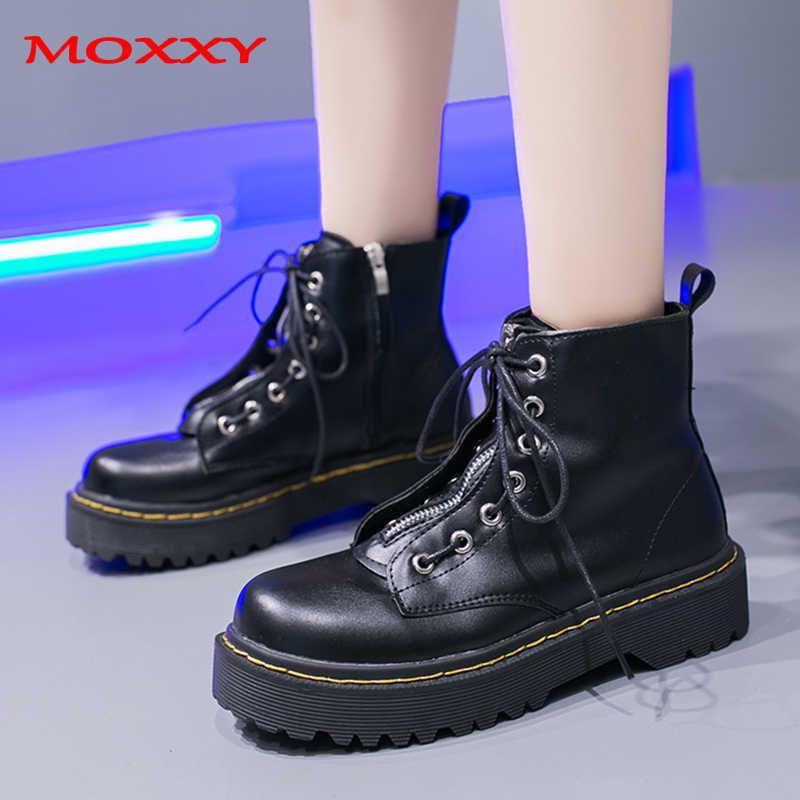 2019 yeni Punk savaş botları kadın platformu botları deri kırmızı siyah yarım çizmeler Zip Lace Up gotik Vintage ayakkabı kadın