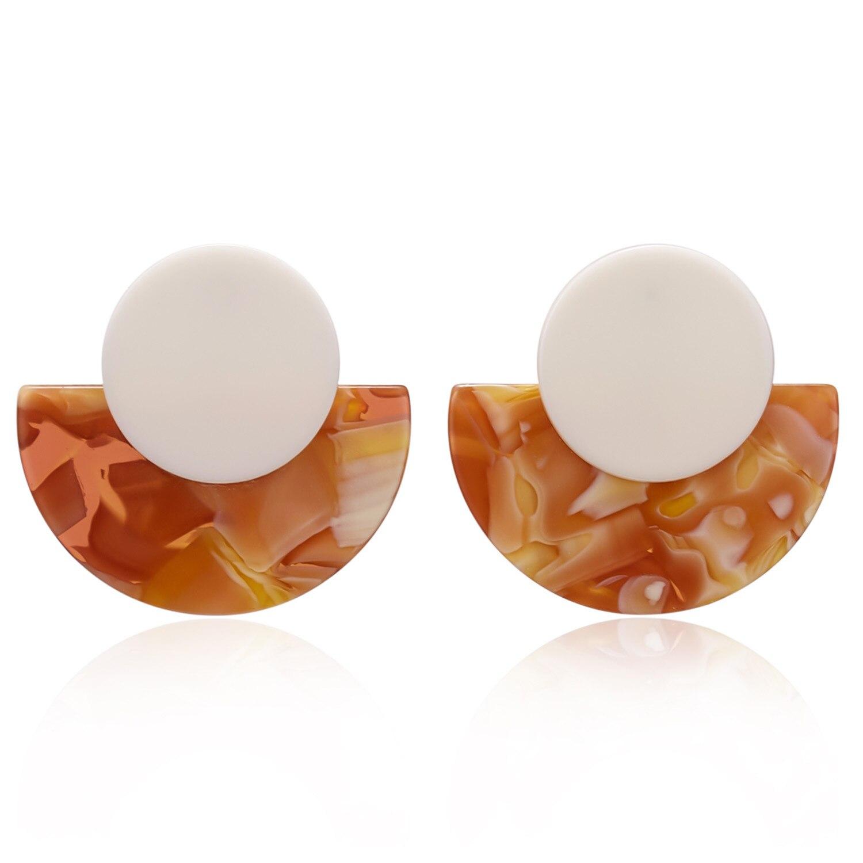 2020 Boho Acetate Acrylic Stud Earrings for Women Trendy Bohemia Colorful Geometric fan Resin Korean Earrings fashion ZA Jewelry
