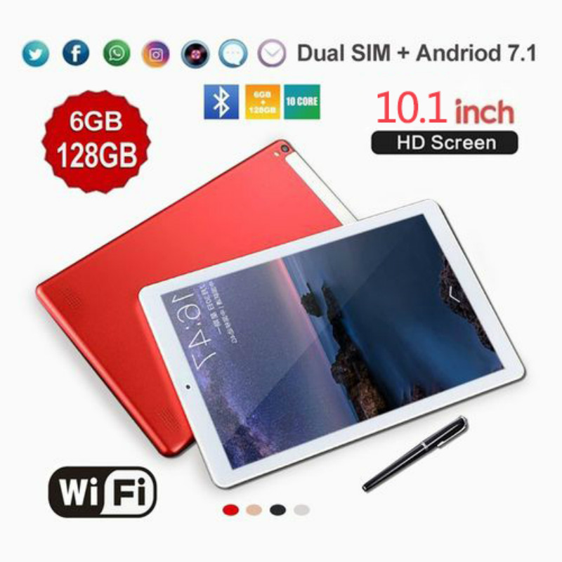 Hot New WiFi Android Tablet 10 Inch Ten Core 4G Network Android 7.1 Buletooth Call Phone Tablet Gifts(RAM 6G+ROM 16G/64G/128G)