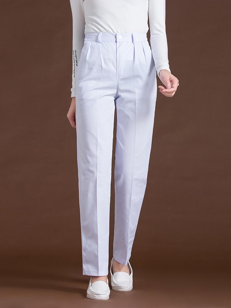 Nurse Pants White Work Pant Elastic Trousers Waist Thick Thin Section Medical Nursing Uniform Clothes Female Spodnie Medyczne
