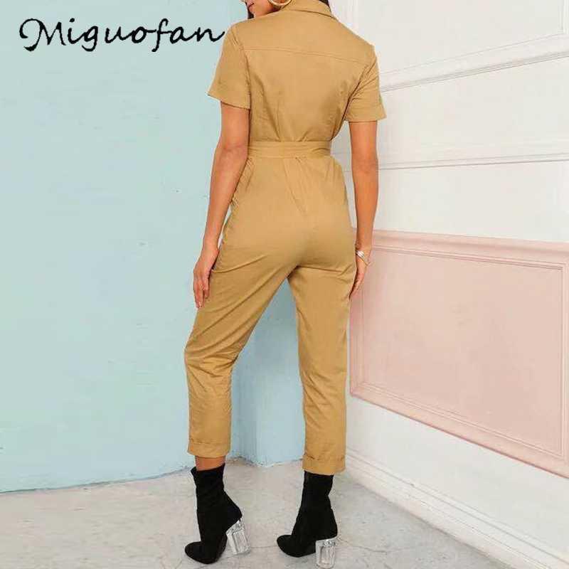 Miguofan carga casual feminino macacões sash bolso esporte das mulheres macacão chique manga curta primavera macacão das senhoras