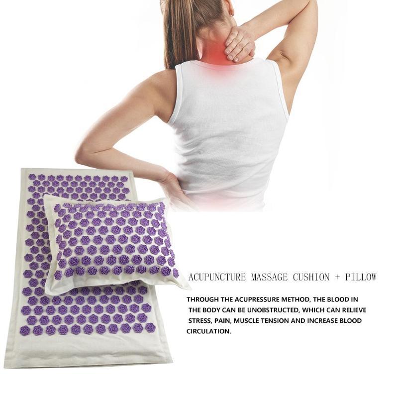 Esteiras da ioga da tensão do corpo do alívio da almofada do massager da acupuntura do pico da dor esteira da massagem da acupuntura com descanso
