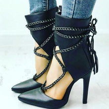 Fashion Women Chain Ankle Booties Pointed toe Cut Out High Vamp Lace Up Shoes Fall Runway Matte Leather Short Boots Luxury Pump hot new square toe women ankle boots black patent leather short booties high heel side zip luxury brand super star runway shoes