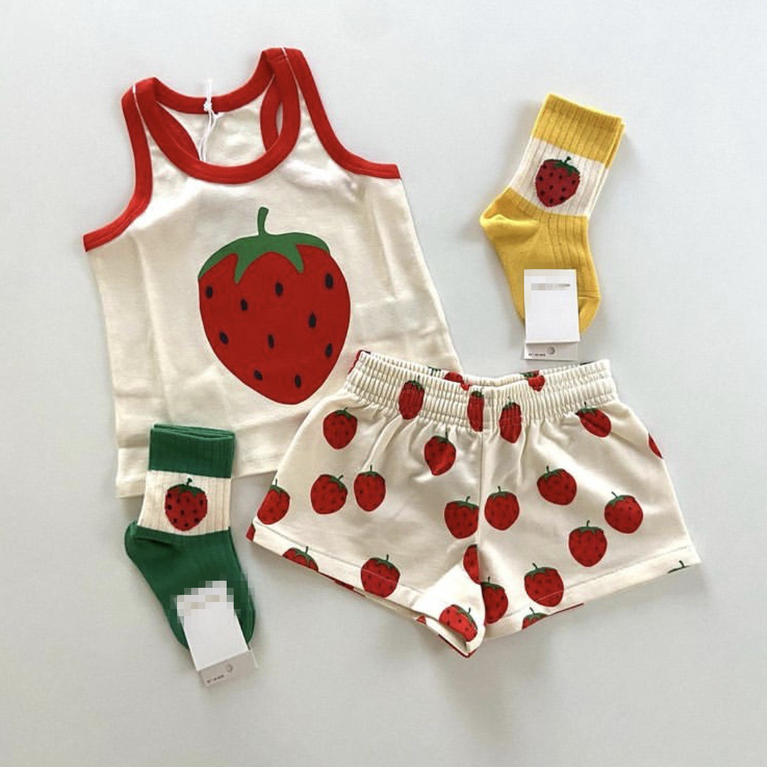 Kids Clothes Sets Mini Brand 2021 New Summer Toddler Girls T-shirts Strawberry Clothing Infant Baby Boys Outfit Pants Tops Tees 2