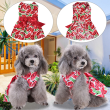 Dog dress Pet Skirt Fashion Summer Clothes Floral Bow Princess Party Dress Puppy Doggy Vest Red D40