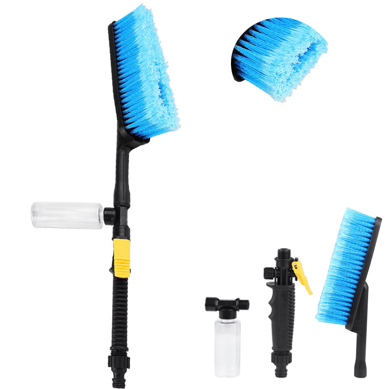Car-Wash-Brush Auto-Tire-Clean-Tool Water-Flow-Switch Car Cleaning Foam-Bottle Long-Handle