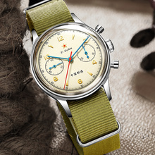 Retro Sapphire Mannen Mechanische Chronograaf Horloges ST1901 Hand Winding Nato Nylon Strap 1963 Air Force Piloot Horloges