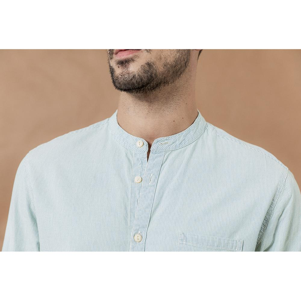Image 2 - SIMWOOD stand collar Vertical striped shirts men 100% cotton classical denim slim fit minimalist casual shirt CS135-in Casual Shirts from Men's Clothing