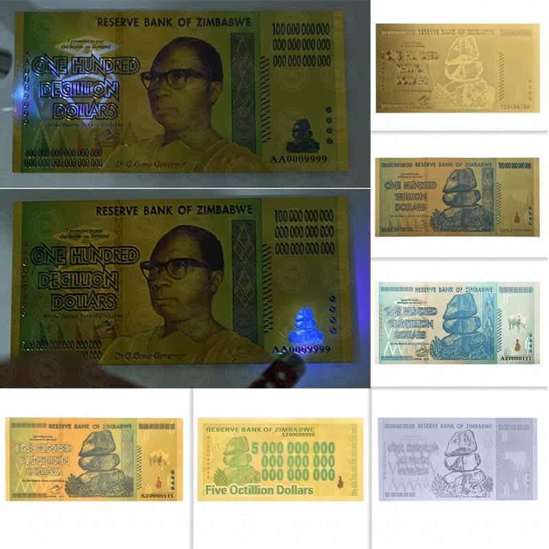 Hurtownie 100 bilionów/Quintillion dolarów Zimbabwe banknoty 24K złota folia replika banknot Bill fałszywe papierowe pieniądze prezent biznesowy