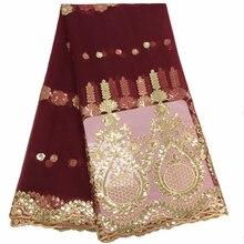 Лучшие продажи бордовые нигерийские кружева с блестками ткани африканская кружевная вышитая Тюль французские кружева материалы для женщин Свадебное платье