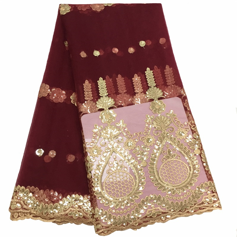 Best Selling Burgundy Nigerian Sequins Lace Fabrics African Lace Embroidery Tulle French Lace Materials For Women Wedding Dress