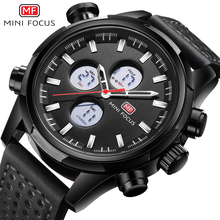 MINI FOCUS Luxury Brand Watch Men Sports Watches Analog Digital Dual Display Leather Men's Watches Army Military Watch Man Clock aidis 2018 new top luxury brand analog led watches men leather quartz clock men s army military sports wrist watch dual display