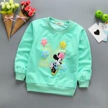 Новое поступление свитеров для маленьких девочек детские толстовки с капюшоном на зиму, весну и осень свитер с длинными рукавами с изображением Минни детская футболка