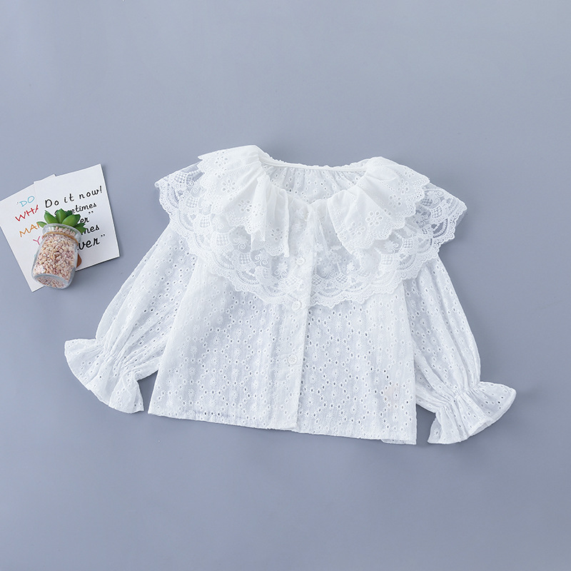 2020 Baby Girl Fashion Clothing Set Sweet Lace Tops Blouse+ Beaded Jeans Pants,kids Princess Wear Children Elegant Suits Clothe 8