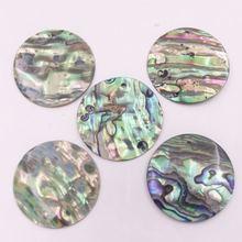 Круглые серьги гвоздики Пауа из натурального зеленого абалона
