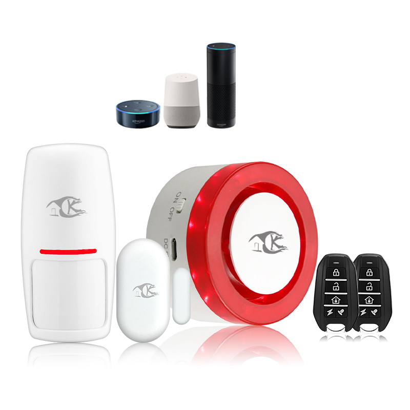 ABKT-Smarsecur Wireless Alarm Siren Kits Security System Auto-Dial Works For Smart Life App Control Compatible With Alexa Google
