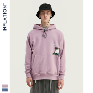 Image 2 - INFLATION FW 2020 Dropped Shoulders Men Hoodies In Pink And Blue With Letter Printing Oversized Men Design Autumn Hoodie 9615W