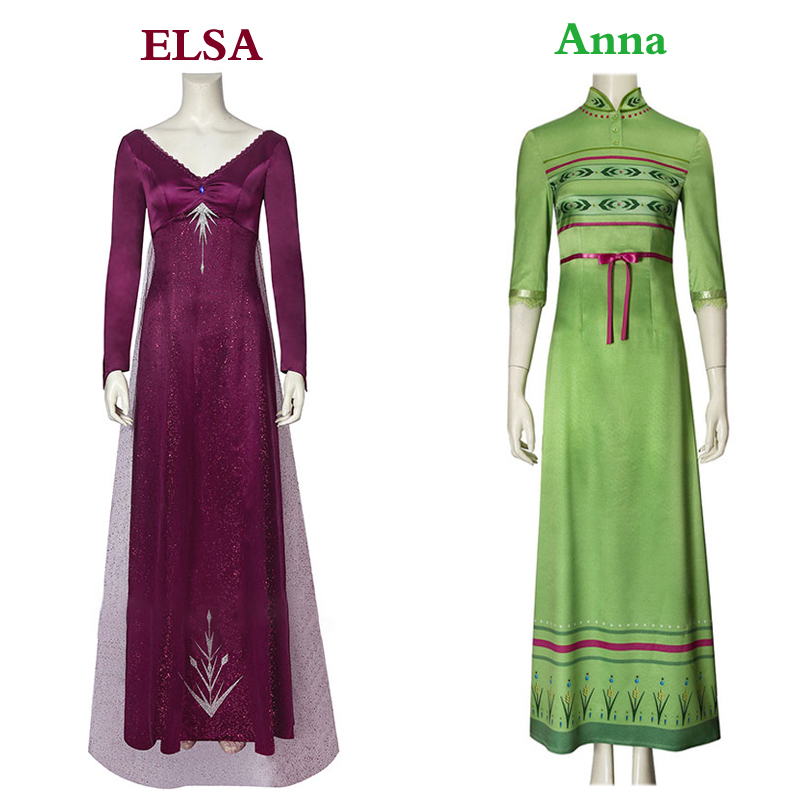 2019 Frozen Anna Elsa Adult Dress Halloween Costume Cosplay Sexy Nightdress Elsa Anna Chinese Cheongsam Green Dress