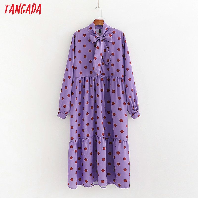 Tangada Women Dots Print Purple Dress 2020 Spring Bow Neck Long Sleeve Ladies Loose Midi Dress Vestidos 1D214