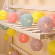Decorações de natal bolas de algodão 20 led 2.2m luzes da corda guirlandas luzes de fadas luzes do feriado a pilhas decoração do casamento