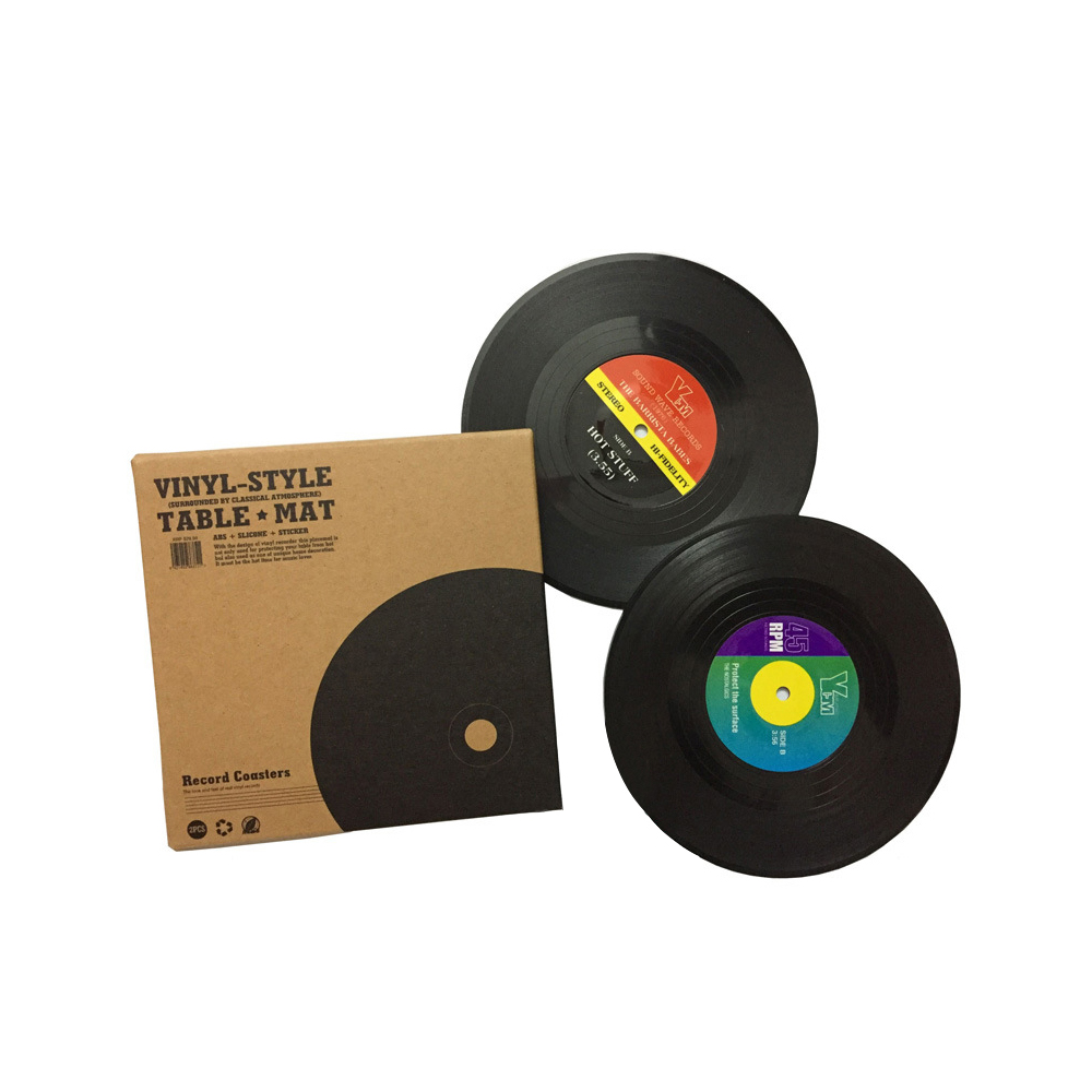 Vinyl Record Table Mats Drink Coaster Table Placemats Creative Coffee Mug Cup Coasters 2 4 6 PCS Heat-resistant Nonslip Pads 2