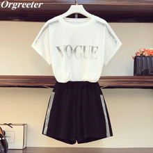 Tracksuits Women Summer New Shinny Rhinestone Letter Short Sleeve T-Shirt Top an