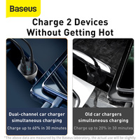 Baseus 65W Car Charger Quick Charge 4.0 3.0 Type C PD Fast Charger QC4.0 QC3.0 USB Phone Charger in Car For iPhone 12 Xiaomi