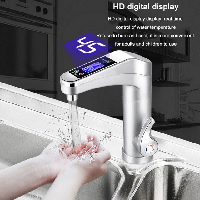 Electric bathroom faucet with 220V water heater and touch screen.
