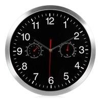 WSFS sıcak 3 in 1 sessiz kuvars duvar saati sessiz süpürme hareketi termometre higrometre hiçbir geçiyor ev sanat dekoru duvar saati