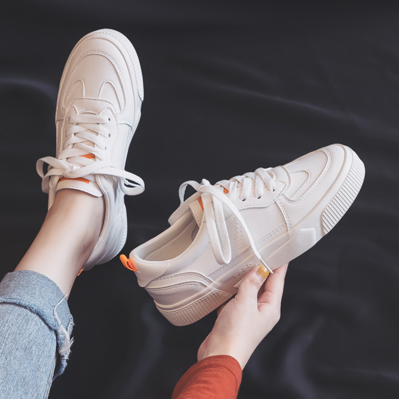 Women's Vulcanize Shoes 2019 Autumn New Trend Fashion Breathable Leather Shoes White Shallow Low-top Flat Shoes Women Sneakers