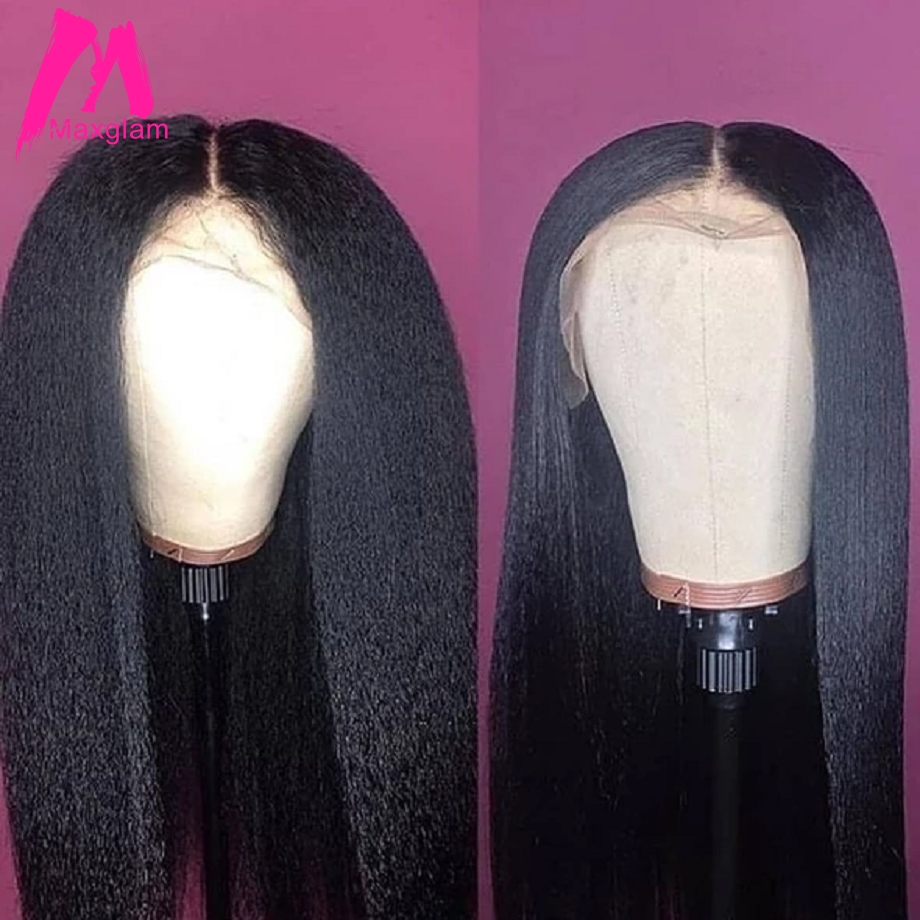 Lace Front Human Hair Wigs Kinky Straight Brazilian Natural Short Long Frontal Wig Pre Plucked Remy Hair For Black Women 130%