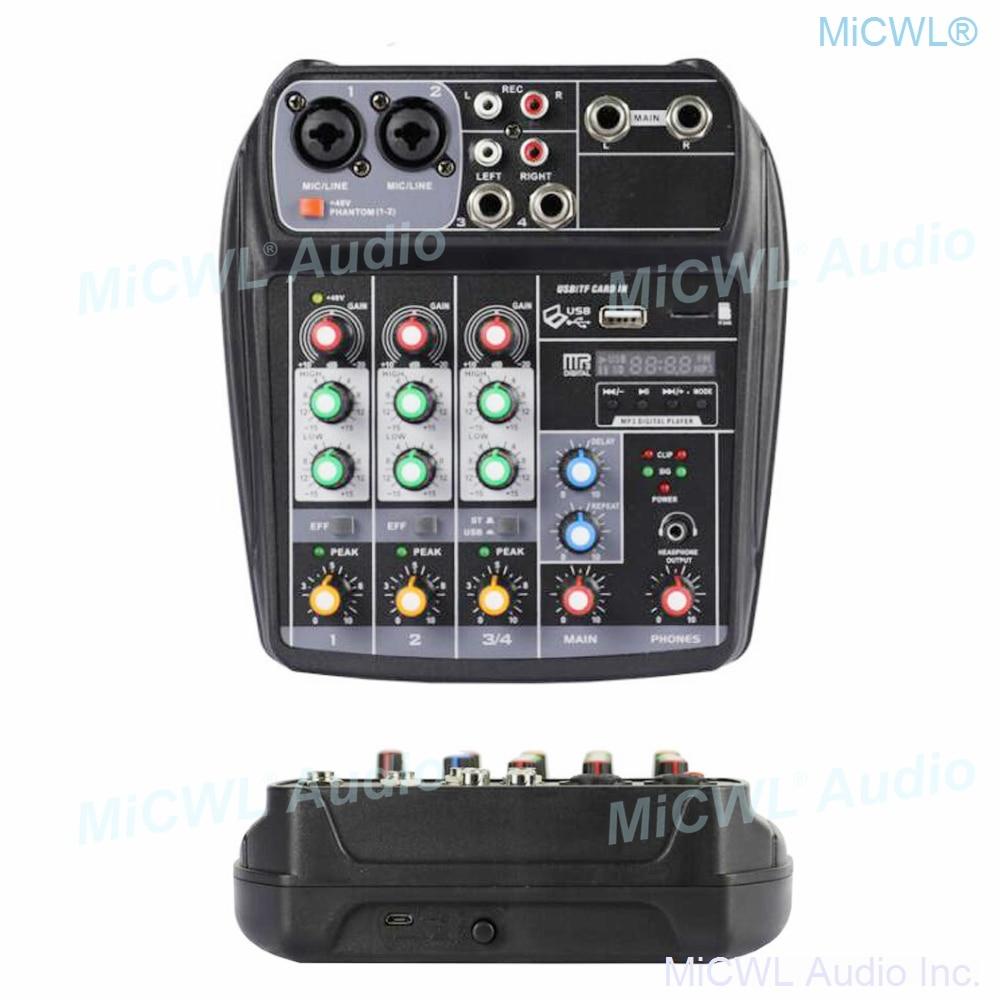 MiCWL Professionelle LX4 4 Kanal Tragbare digitale audio mixer konsole DSP wirkung bluetooth USB 48V mit USB Kabel können verbinden PC