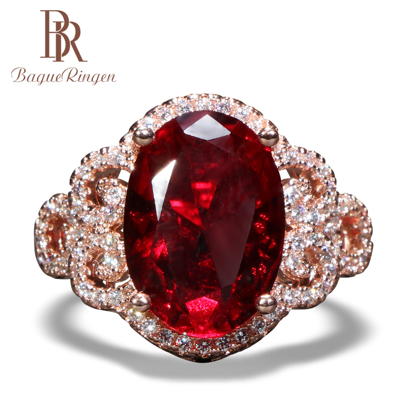 Bague Ringen Classic 925 Sterling Silver Rings For Women With Oval Shape Ruby Gemstones Rose Gold Color Charm Lady Jewelry Gift