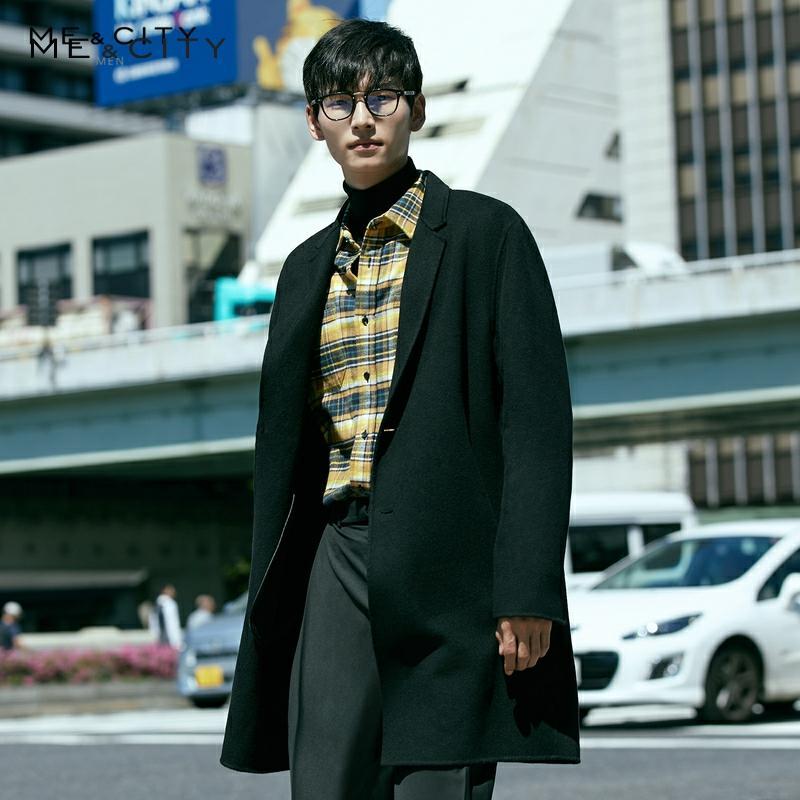 Me&City Winter Woolen Jacket Men's High-quality Wool Coat Casual Slim Vintage Business wool coat Men's Trench Coat 239458