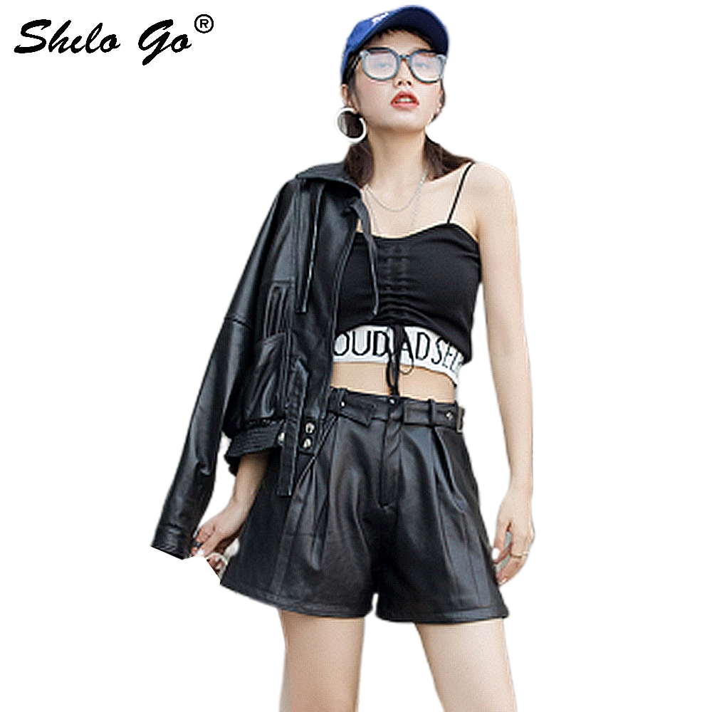 Genuine Leather Shorts Highstreet Pleasted Waist Wide Leg Shorts Women Autumn Casual Buckle High Waist Side Pocket Mini Shorts