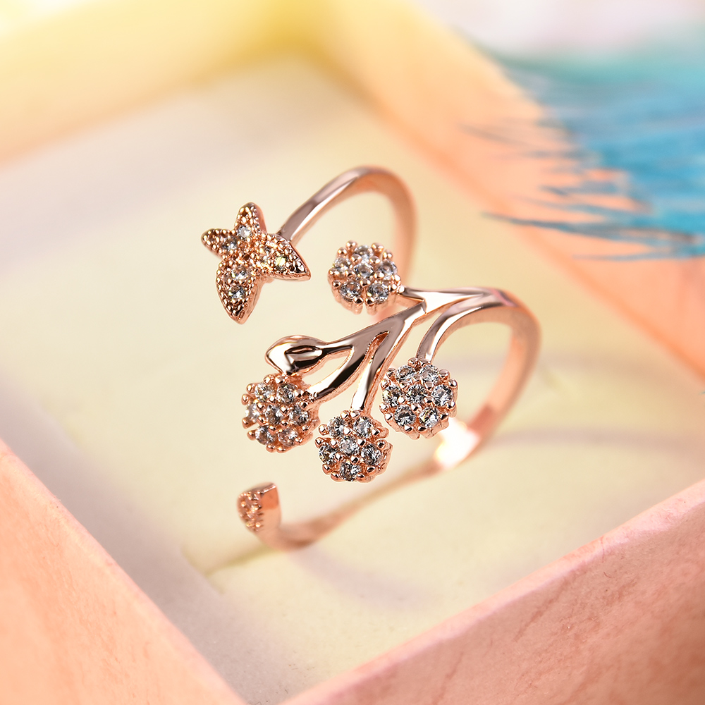 Adjustable Rings Flower Rose-Gold White-Size Women's New-Fashion Wedding for Wholesale