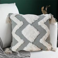 цены Bohemian decorative pillowcase bedroom living room - Modern tufted cushion set tassel, cute pillowcase waist