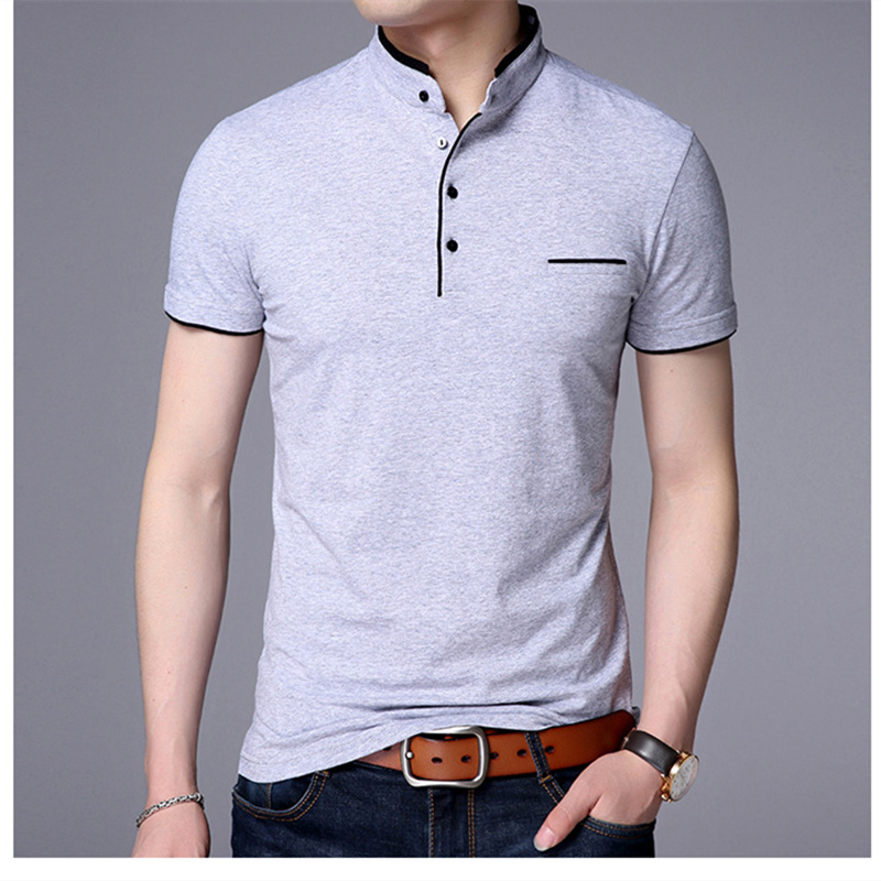 Polo-Shirts Short-Sleeve Stand-Collar Male Fashion Summer Pure-Cotton Brand Premium Slim-Fit