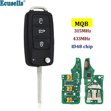 MQB Hệ Thống Thông Minh Đổi Gấp Flip 3 nút 315Mhz với ID48 chip Remote Key Fob cho VW Volkswagen HU66 uncut Blade