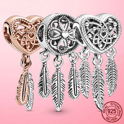 2020 New 925 Sterling Silver Openwork Heart & Three Feathers Dreamcatcher Charm Beads fit Original Bracelet Necklace 925 jewelry