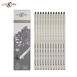 LOTORY 6811 węgiel ołówki 12 sztuk szkic długopisy węglowe miękkie ręcznie Tear węglowego długopis narzędzie do rysowania malowanie artykuły papiernicze Ołówki z węgla drzewnego do rysowania Artykuły biurowe i szkolne -