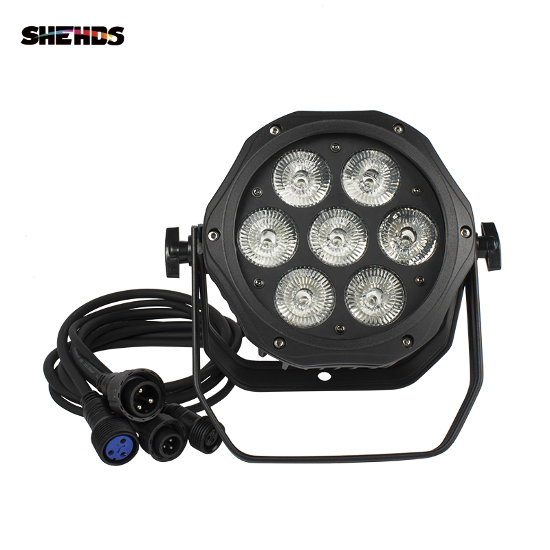 SHEHDS LED Par 7x18W RGBW+UVHigh Quality Waterproof Light Outdoor IP65 Waterproof DMX Effect Stage Lights Professional Stage DJ