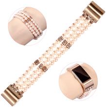 Pink Pearl Bracelet Strap for Fitbit Charge 4/ Charge 3/ Charge 2 Bands Handmade Jewelry Woman Band Replacement Accessories Bead